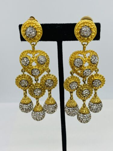 Deanna Hamro Vintage Gold Plated Rhinestone Long D