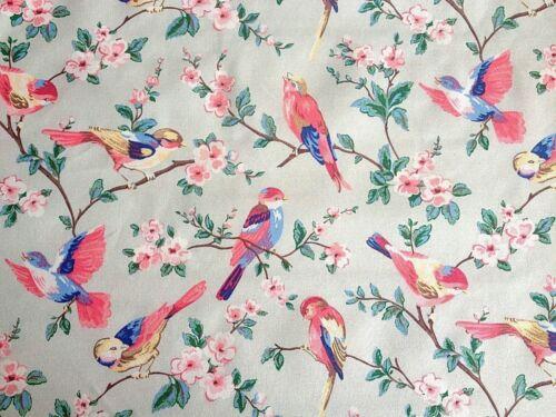 Garden Pink Birds 100/% Cotton Duck Fabric By The Metre Cath Kidston