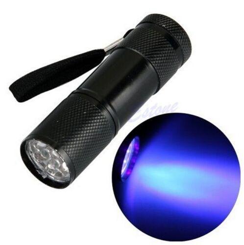 9 LED UV Torch Flashlight Ultra Violet Blacklight AAA Light