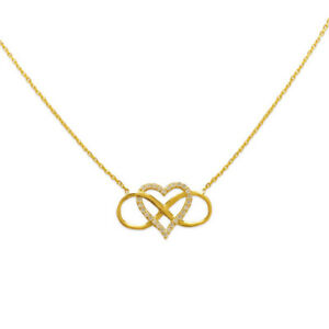 e98cee53c64 Image is loading Infinity-Heart-Necklac-14K-Yellow-Gold-Pendant-Jewelry-