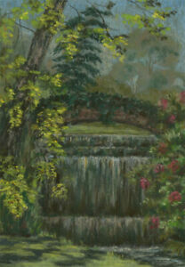 A-M-Johnson-Mid-20th-Century-Pastel-The-Waterfall