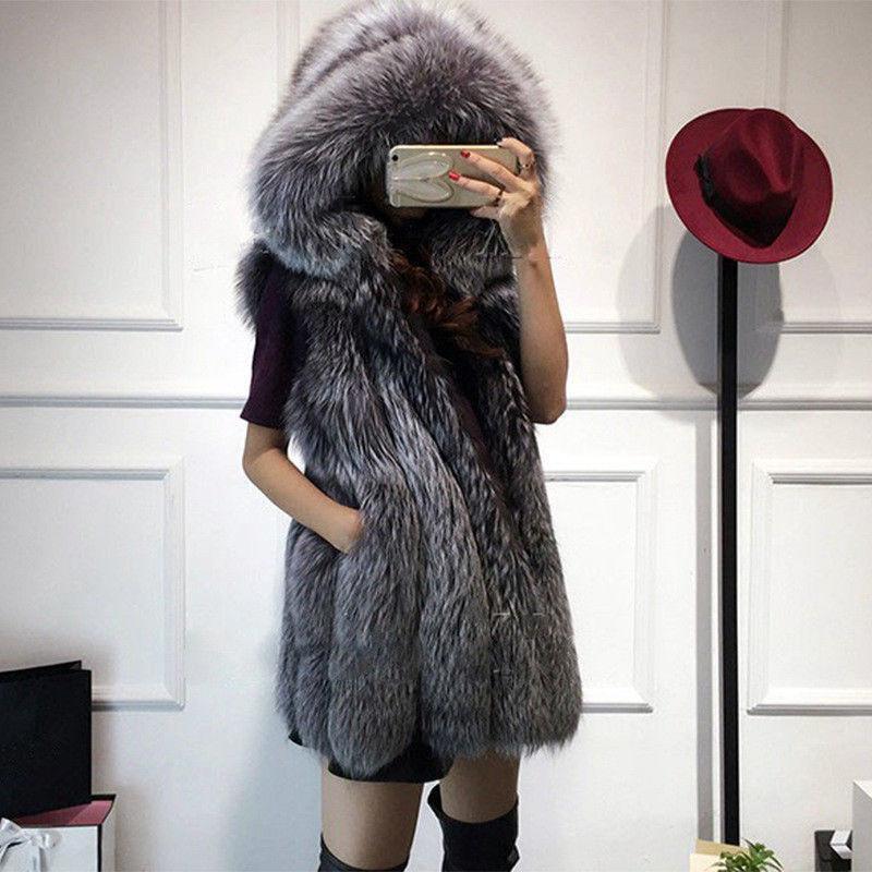Abrigo para mujer Abrigo de piel de zorro piel chaleco  de invierno señoras Gilet gruesa cálida con Capucha 2019 albergue  buena calidad