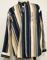 Trader Bay Blue Tan Stripe Button-front L/s Cotton Twill Shirt Xlt