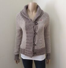 Hollister Womens Knit Wool Button Up Jacket Size Small Sweater Gray Chunky