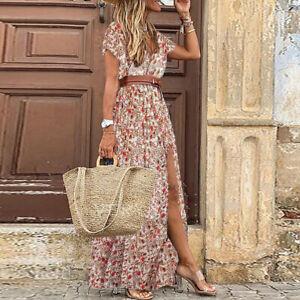 Women Boho Floral V Neck Maxi Long Dress Ladies Beach Holiday Kaftan Sundress