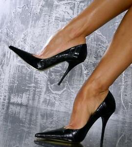 womens black patent leather sexy pointed toe shoes high