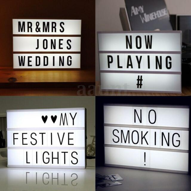 A4 Cinematic Light Box Cinema LED Letter Lamp House Xmas Party Wedding Decor