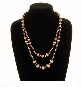 South-Western-Navajo-Style-Faux-Pearl-Copper-Bead-Two-Strand-Tribal-Necklace