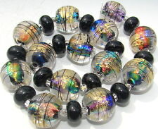 "Sistersbeads ""Masquerade"" Handmade Lampwork Beads"