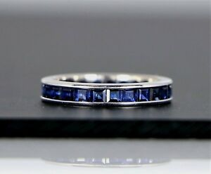 2-350-14k-White-Gold-Blue-Sapphire-Eternity-Stackable-Channel-Wedding-Band-Ring