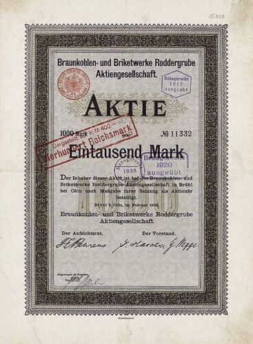 Braunkohlen- und Briketwerke Roddergrube AG Brühl bei Köln 1909 hist. Aktie RWE