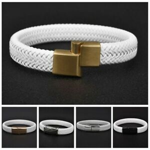 White-Leather-Braided-Bracelet-Stainless-Steel-Magnetic-Clasp-Bangle-for-Men