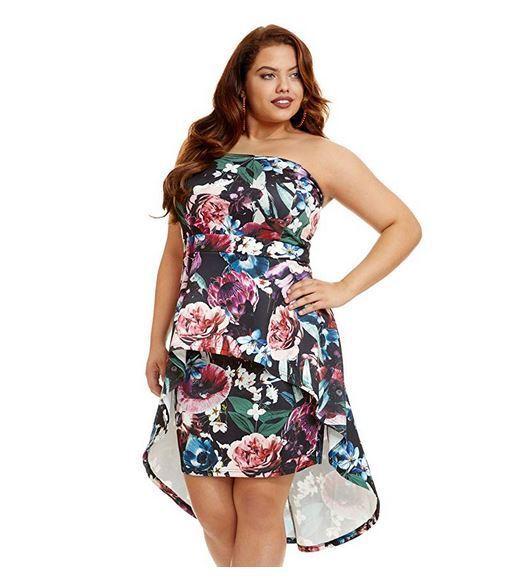 Fashion To Figure Women's Plus Size Avianna Floral Strapless Dress, size 1X