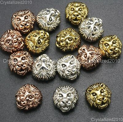 Solid Metal Lion Head Bracelet Necklace Connector Charm Beads Silver Rose Gold