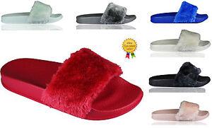 0212c4561fb4 SALE New Womens Size Flat Farrah Rubber Slider Mules Fur Slipper ...