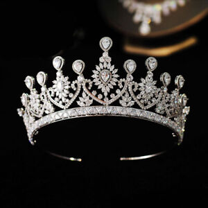 Luxury All CZ Cubic Zirconia Classical Queen Wedding Party Pageant Tiara Crown