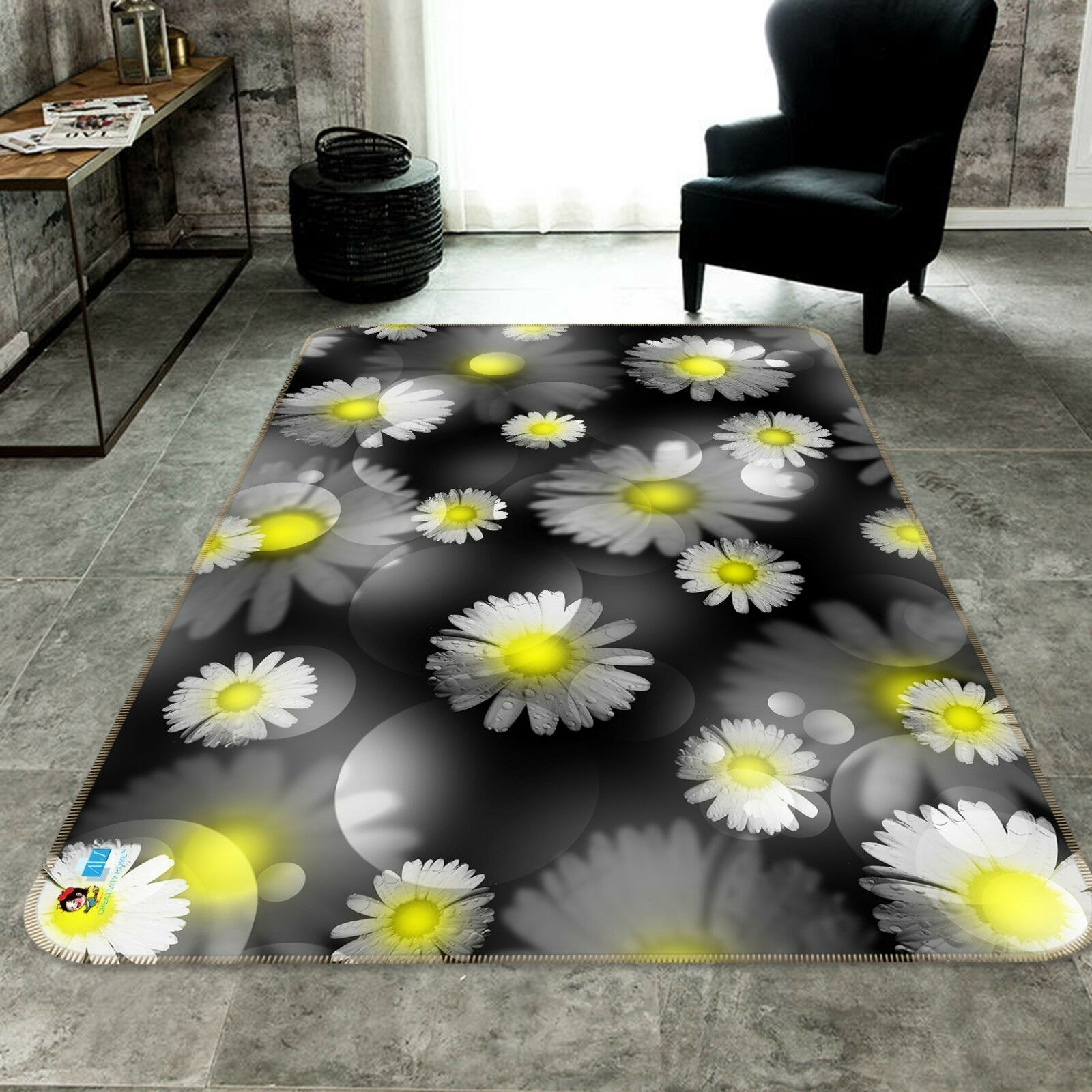 3D Daisy Petals 205 Non Slip Rug Mat Quality Elegant Photo Carpet US Cobb