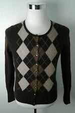 Women's Brown Argyle Diamond Pattern CASHMERE Cardigan Sweater by Apt. 9 Sz S M