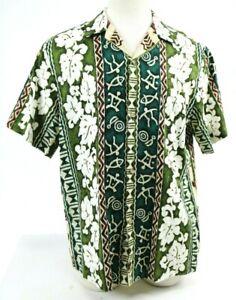 RJC-Men-039-s-Hawaiian-Shirt-Size-Large-Floral-Green-Made-In-Hawaii