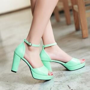 Womens-Ankle-Strap-High-Heel-Peep-Toe-Platform-Sandals-Shoes-AU-Plus-Size-2-9