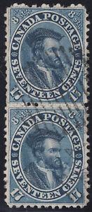 Canada-1859-Jacques-Cartier-Pair-Scott-19i-VF-used-catalogue-700