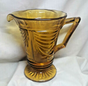Sowerby 1930s Amber Glass Art Deco Water Jug Pitcher Pressed Glass