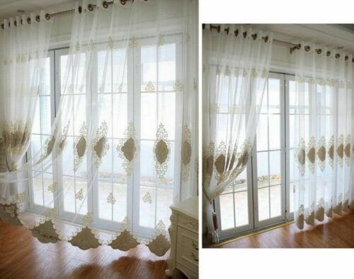 Beige Voile European Embroidery Flower Window Sheer Elegant Curtains Luxury Lace