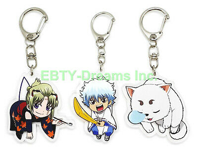 Hot Anime GINTAMA Sakata Gintoki Alloy Sword Pendant Keychain Cosplay Gifts