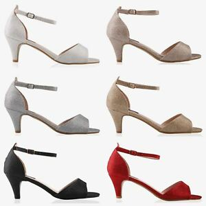 Women-Ladies-Low-Kitten-Heel-Court-Shoes-Open-Toe-Glitter-Sandals-Party-Bridal