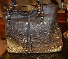 Charming Charlie's brown&gold hardware top zip studded&sequenced bag tote should