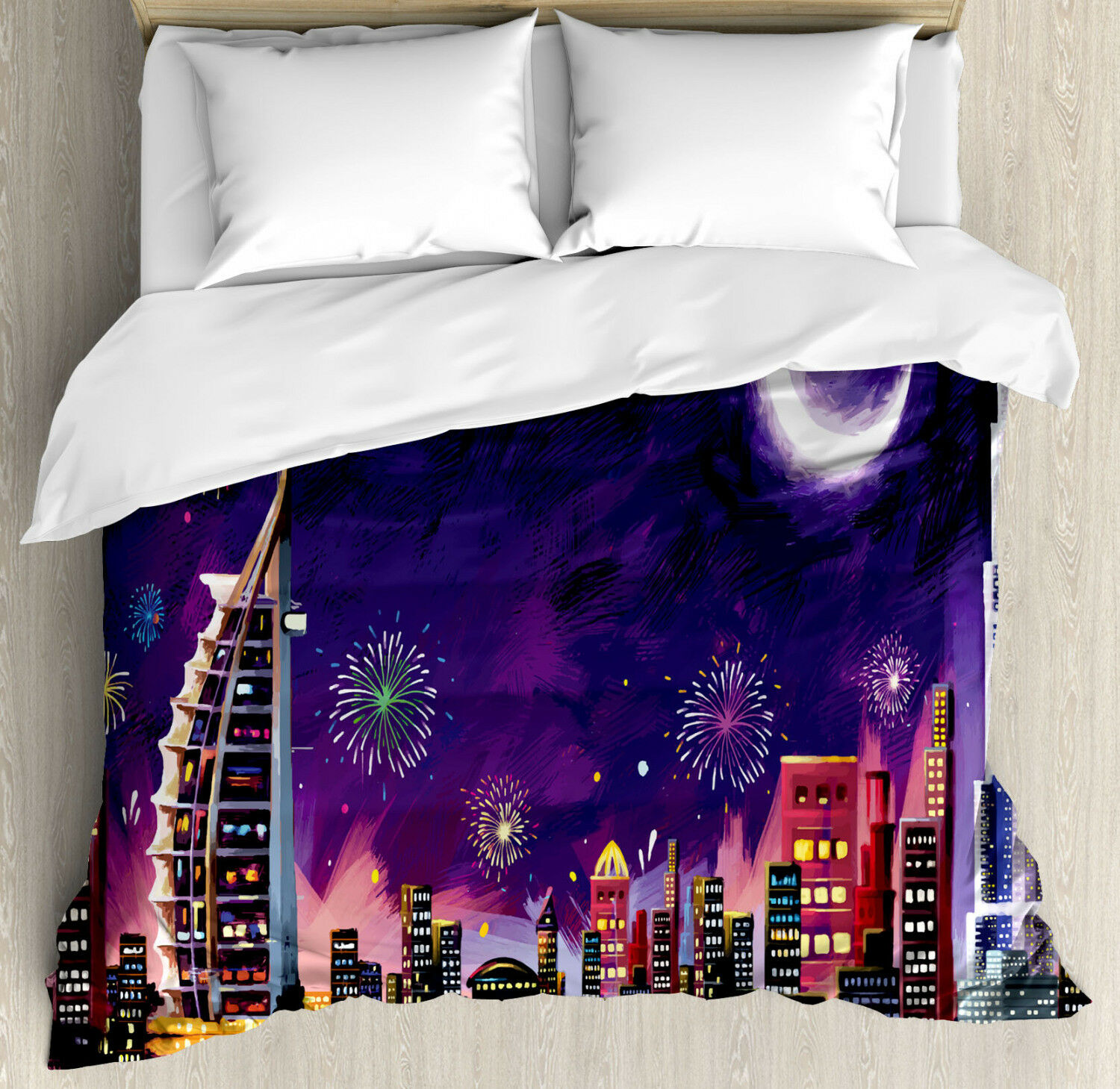 Scenery Duvet Cover Set with Pillow Shams Night Dubai Skyscraper Print