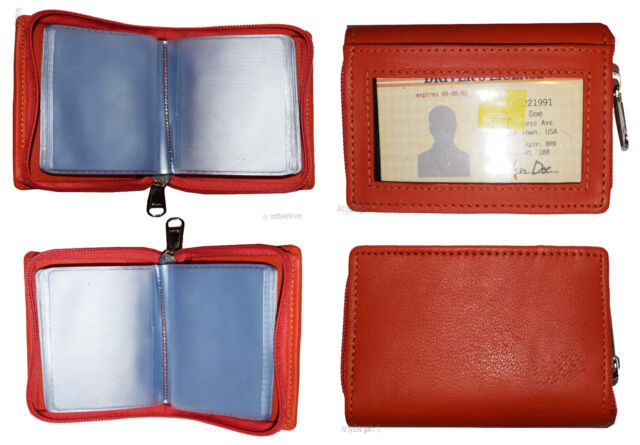 RFID Zip Around Leather Business Card ID Credit card ...