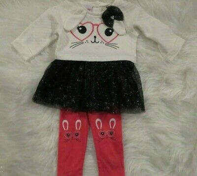 Nannette Toddler Girls 2 Piece Bunny Outfit 24 mo Skirted Tunic Top Leggings NWT