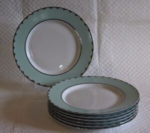 Image is loading Set-of-7-House-of-Fraser-Pied-a- & Set of 7 House of Fraser Pied a Terre Persia Jade 20cm Lunch Plates ...