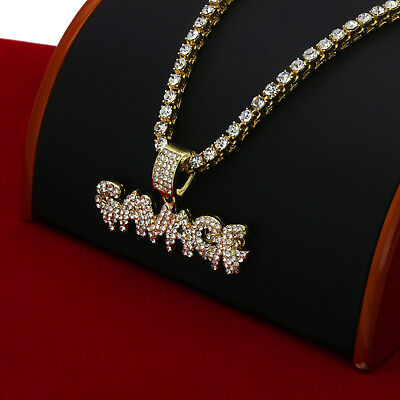 """Men/'s Gold Plated Savage Drip Letter Pendant 20/"""" Rope Chain Hip-Hop Necklace J03"""