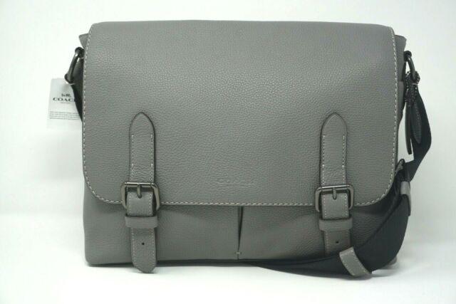 Coach Men's Metropolitan Heather Grey Pebble Leather Soft Messenger 55552
