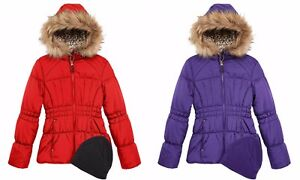 1d5795b7995 Weathertamer Hooded Puffer Coat With Faux-Fur Trim   Hat Big Girls ...