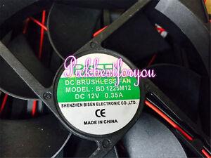 1pcs BISEN BD 1225M12 12V 0.35A 1225 2pin cooling fan #MD80 QL