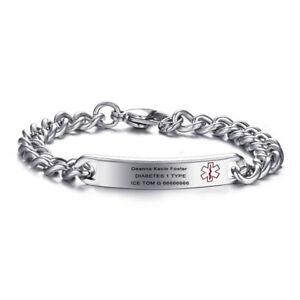 Men-Women-Medical-Alert-ID-Bracelet-Bangle-Stainless-Steel-Chain-Free-Engraving