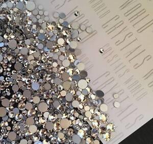 Swarovski-crystals-CLEAR-flat-back-stones-gems-charms-for-nail-art-x-75-pcs-HOT