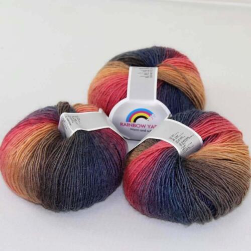 50 g DOUX CACHEMIRE LAINE Rainbow Wrap Châle bricolage main Knitwear fil 08 Hot 3 Boules