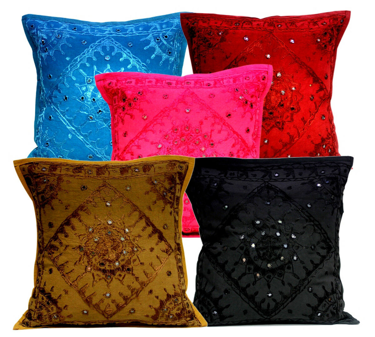 Multi Modern Embroidery Pillow Mirror Work Ethnic Indian Cushion Covers 10Pcs