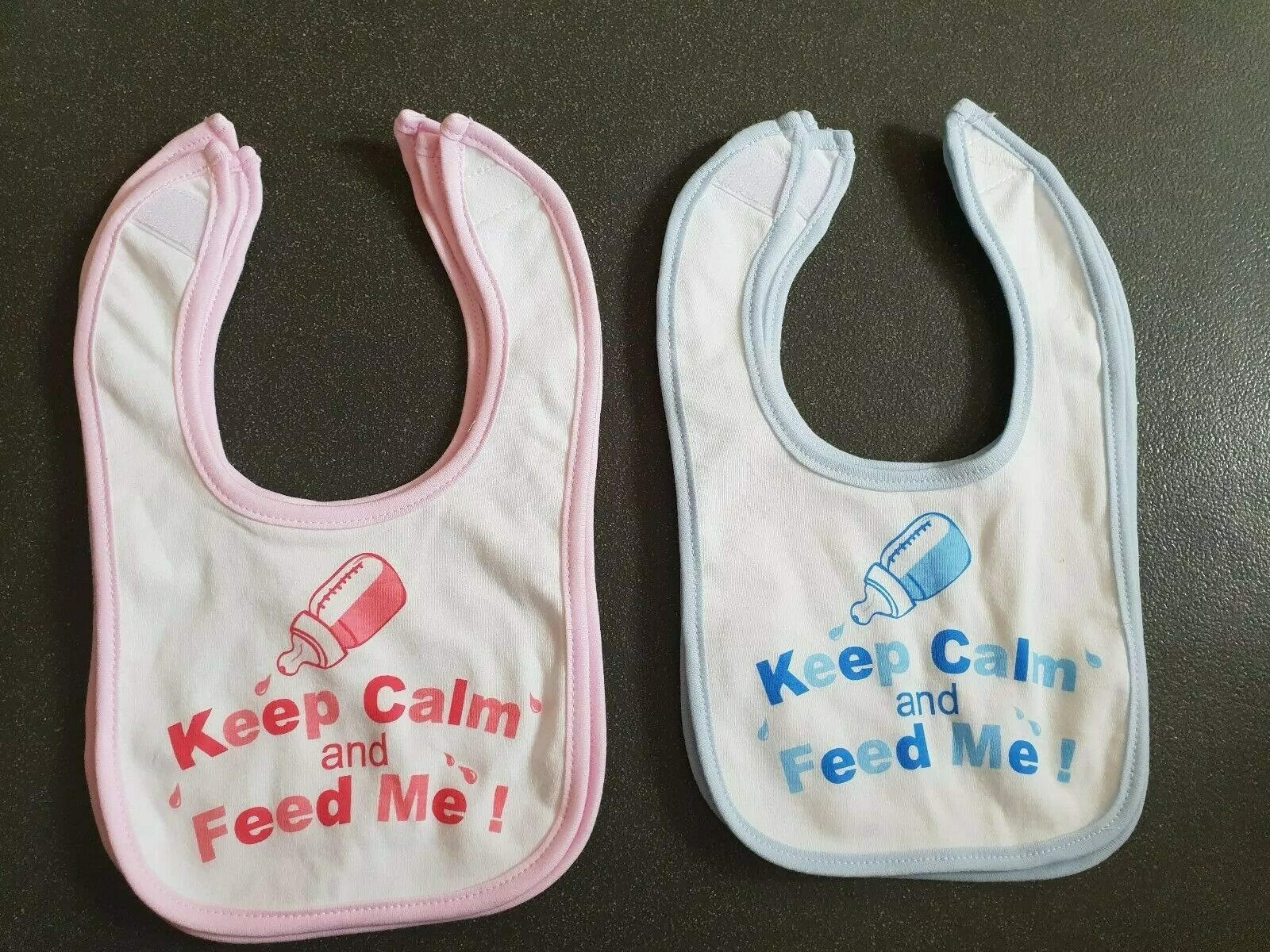 Baby BIB white cotton printed with KEEP CALM AND FEED ME on  baby bib