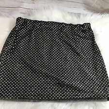 Zara Trafaluc Sequin Beaded Mini Skirt Shiny Black Stretch Waist Size Medium