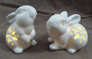 "2 Piece LED Lit White Bunny Night Light Figurine 3 1/2"" Cut Out Sides"