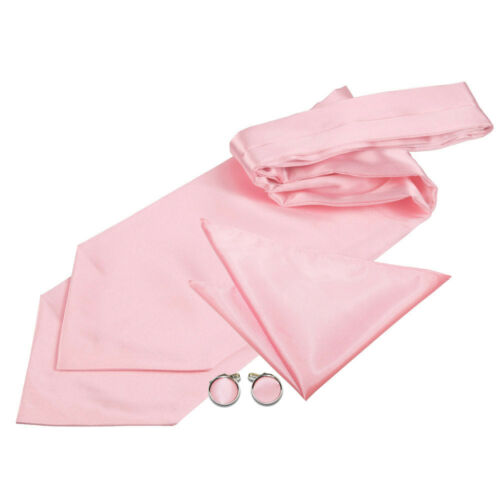 DQT Satin Plain Solid Formal Wedding Mens Self Tie Cravat Cufflinks /& Hanky