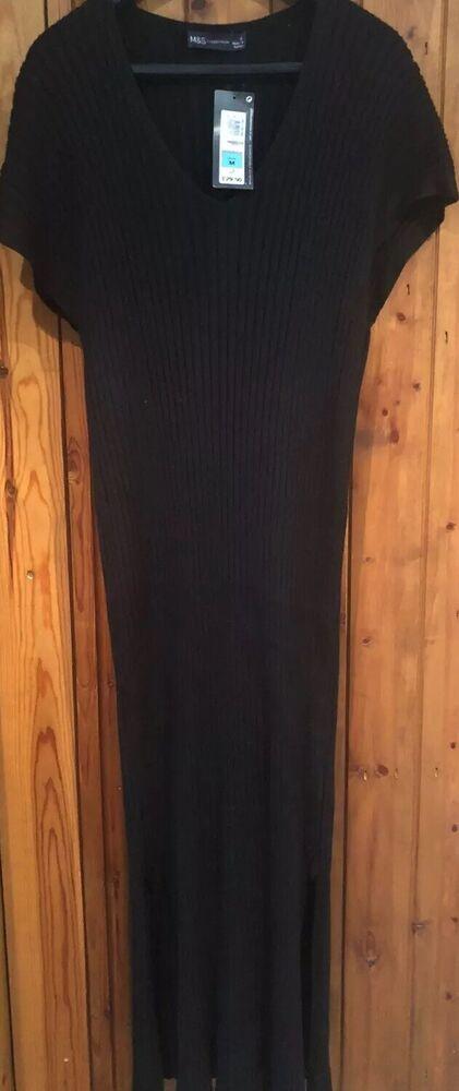 Bnwt M&s Noir Côtelé Tricot Pull Robe Pull Taille 14 £ 29.50