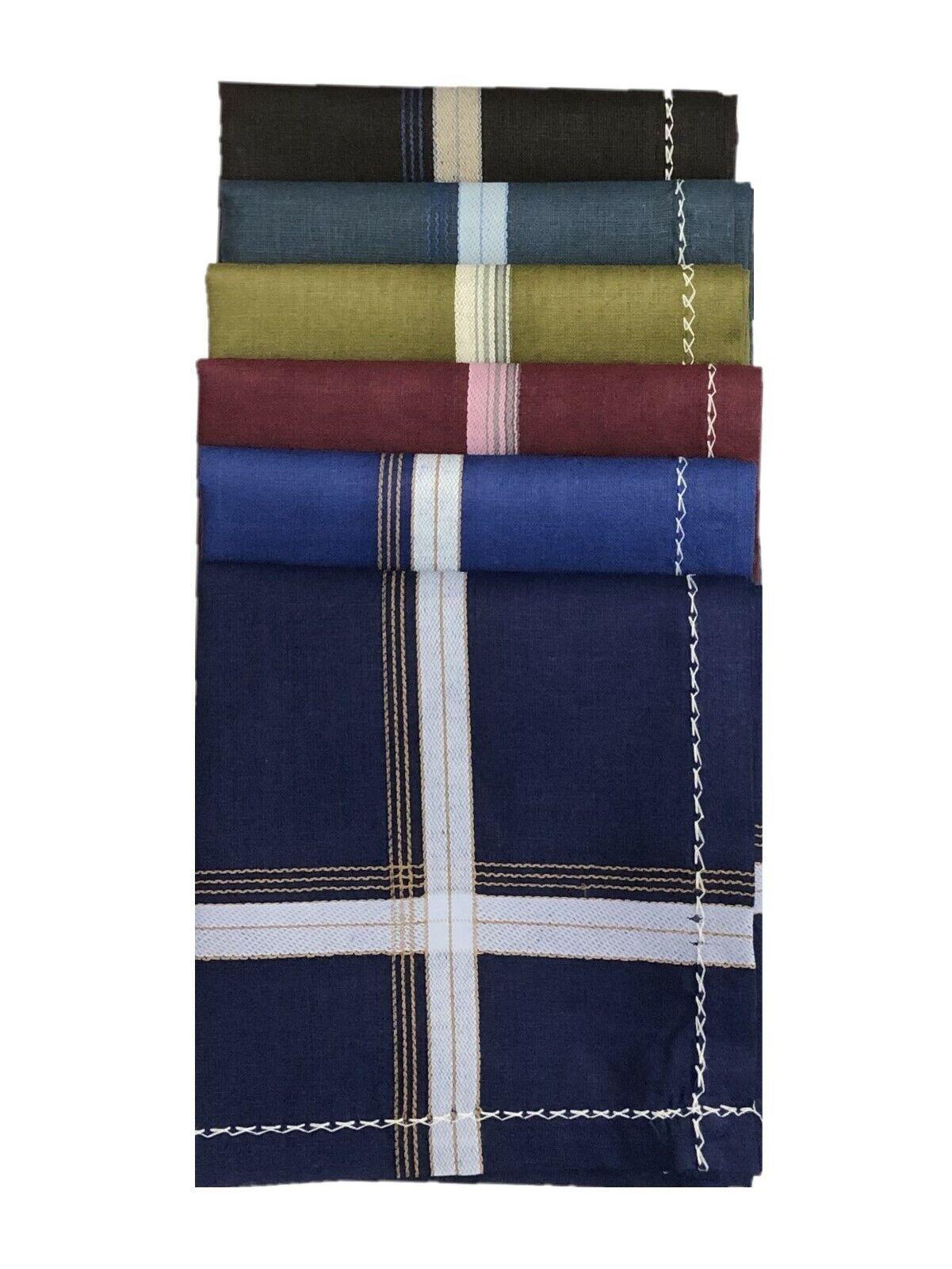 100% Cotton Mens Gents Handkerchiefs Hankies 48 x 48cm 6pcs Dark colour pack
