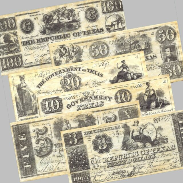 REPUBLIC OF TEXAS replica currency 1838-1841, money, 6 NOTE SET, NEW, Looks Old