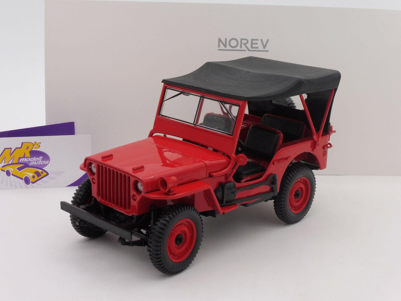 Norev 189014   Jeep Willys Baujahr 1942 in   rot   1 18 NEUHEIT
